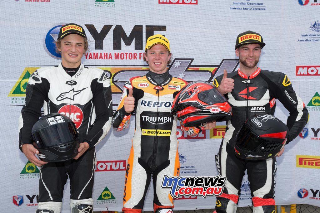 Motul Supersport Race One Results Mark Chiodo - Triumph Tom Toparis +4.316 - Kawasaki Ryan Taylor +18.099 - Yamaha