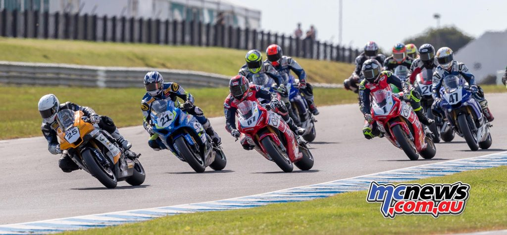 Daniel Falzon leads the field into turn one for the final ASBK Championship race of season 2017 - Image by TBG