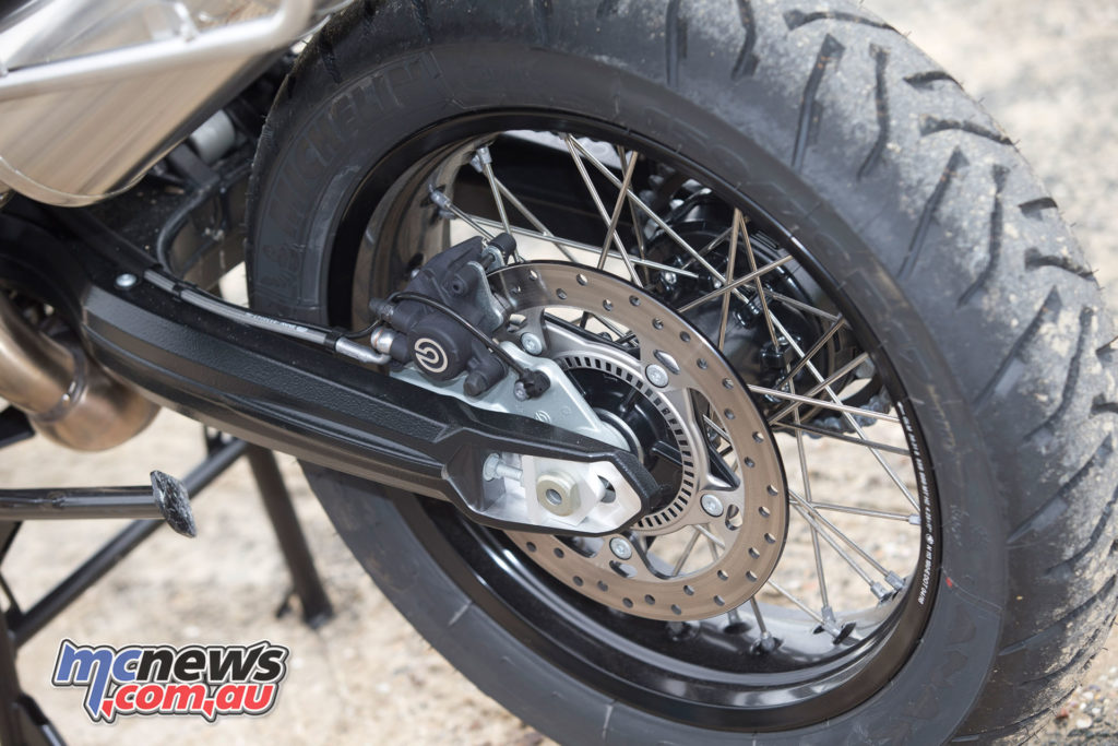 Brembo brakes offer strong performance with ABS fitted, while final drive is chain