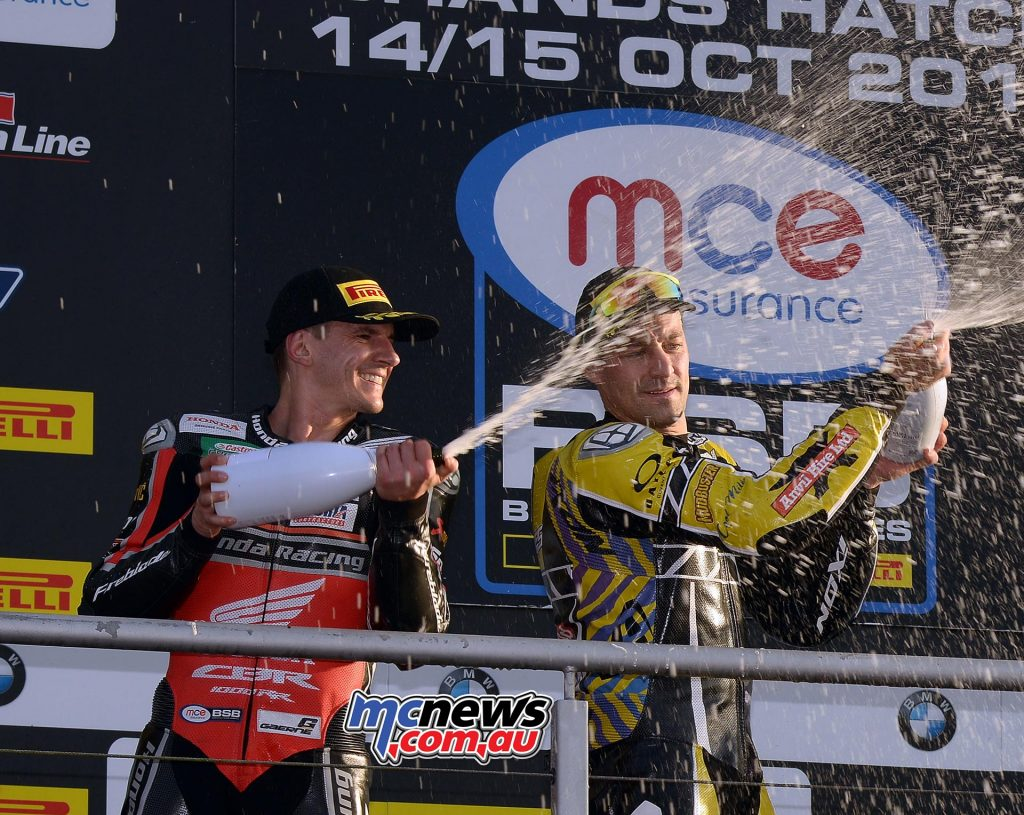 Two Aussies spray the champagne - Race victor Josh Brookes and second placed Jason O'Halloran - Image by Jon Jessop
