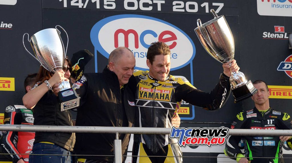 Josh Brookes with Anvil Hire TAG Yamaha Team Owner Rob Winfield