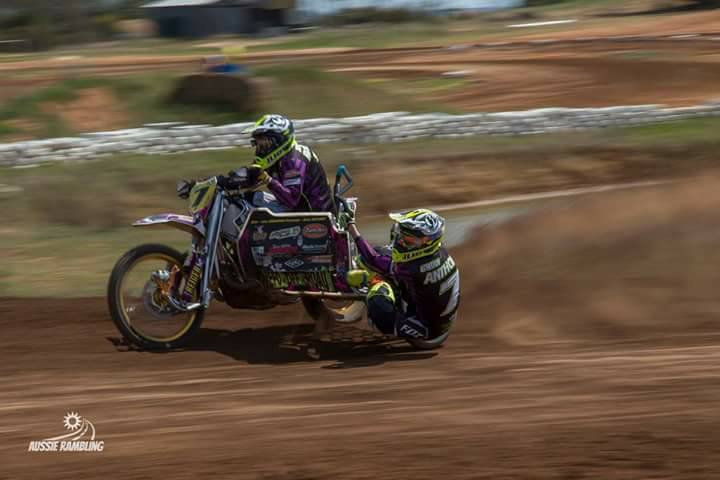 Brian Anthony on his way to winning the Australian Motocross Sidecar Championships
