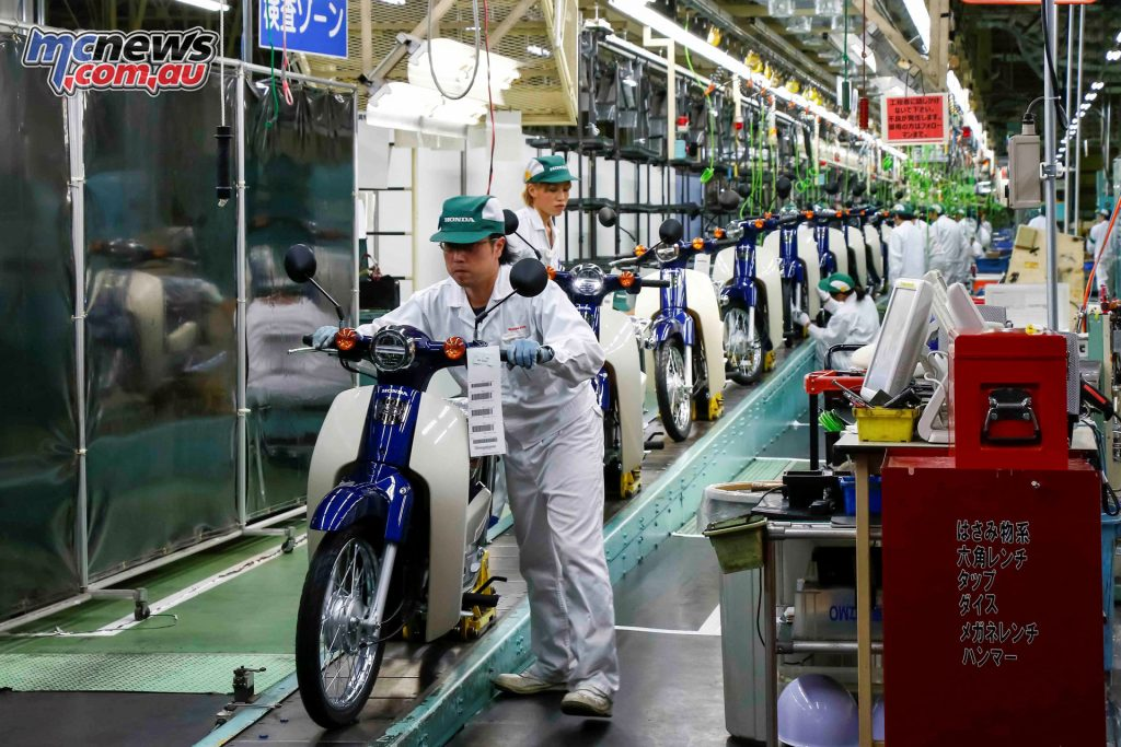 Current day production at the Japanese Super cub factory in Kumamoto