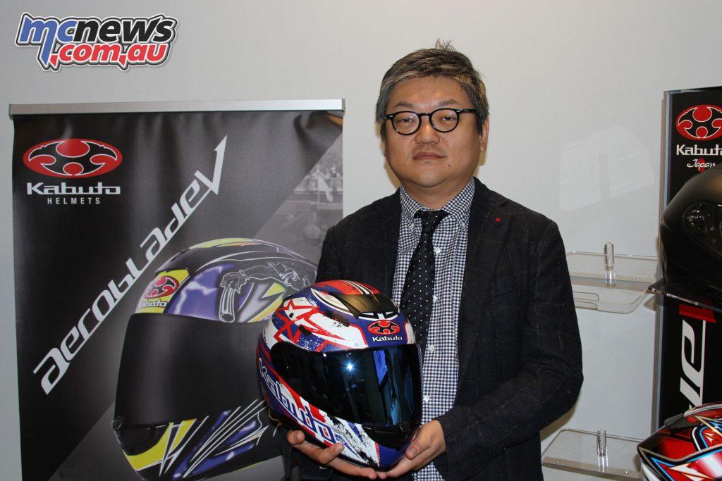 Kabuto's Executive Director Hiroki Kimura with the new Aeroblade-5