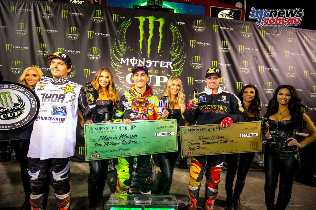 Monster Energy Cup 2017 Podium - Sam Boyd Stadium - Image by Simon Cudby