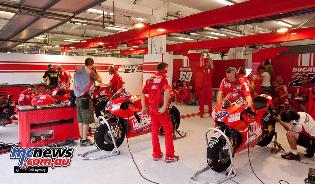 In the Ducati pit box.