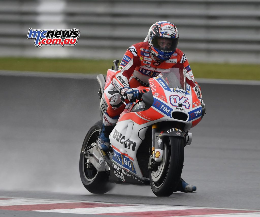 Andrea Dovizioso quickest in both the wet and dry in opening day of competition in Malaysia