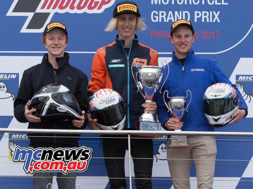 Australian Supersport 300 Round Points 1. Max CROKER (KTM Australia, RC 390) 62 2. Seth CRUMP (Jason Crump, KTM RC 390) 54 3. Tom BRAMICH (Ron Angel Classic, Yamaha YZF-R3) 49