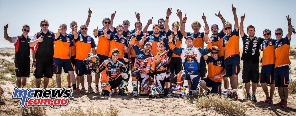 The KTM Team celebrate Walkner's victory