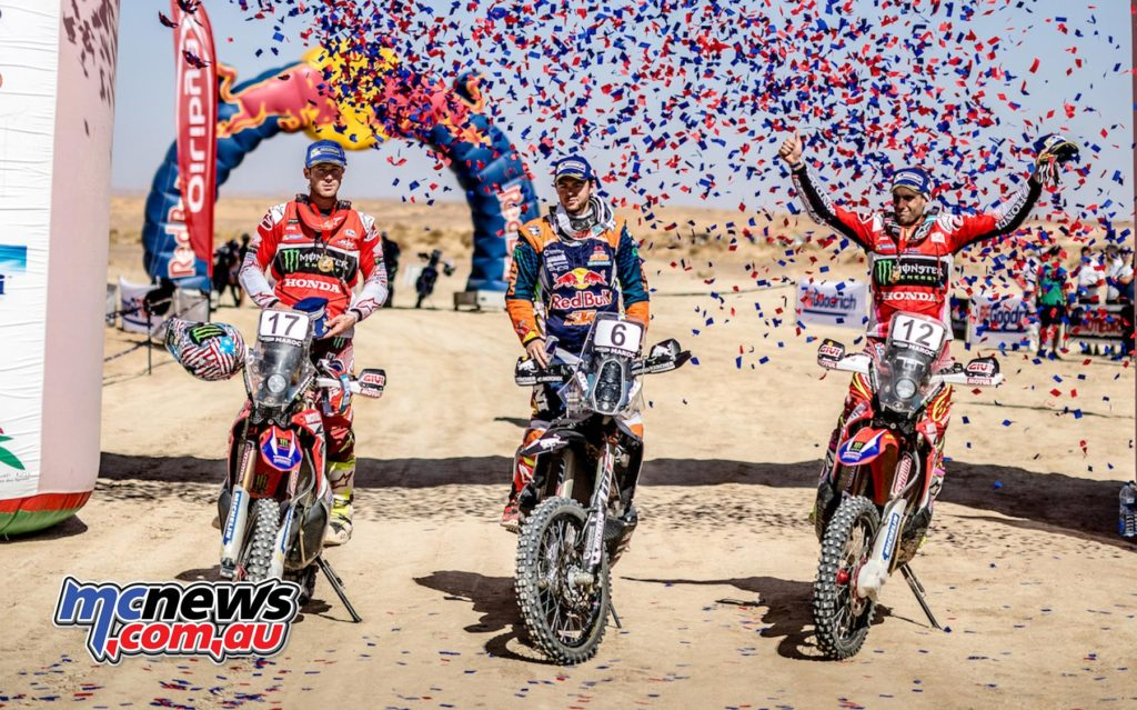 KTM's Mathias Walker took the Morocco Rally win with Honda's Benavides and Brabec completing the overall podium