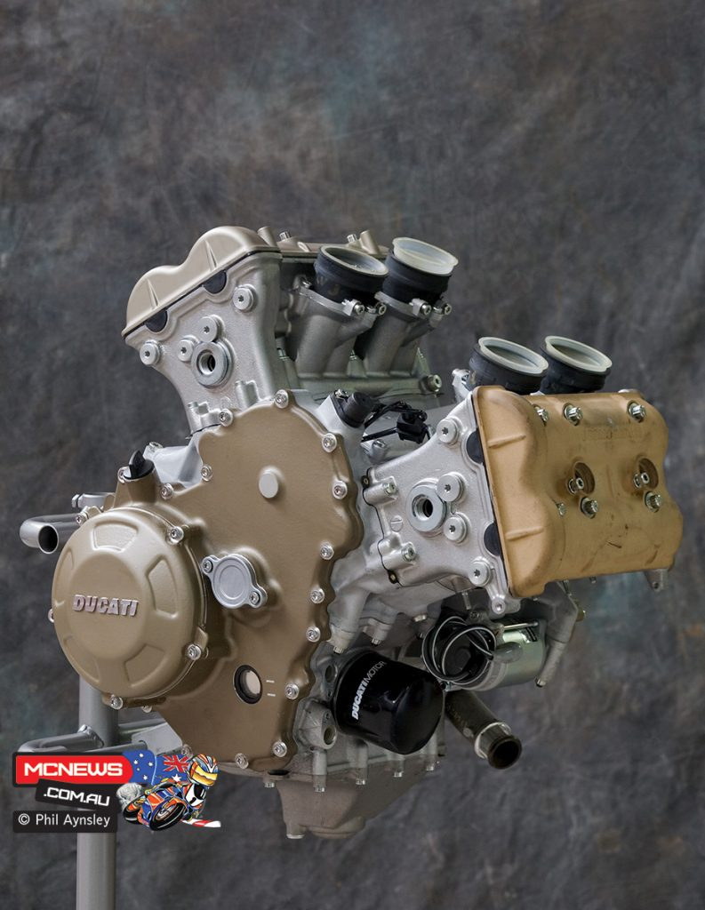 The MotoGP powerplant would eventually grace the Desmosedici RR in a limited production form
