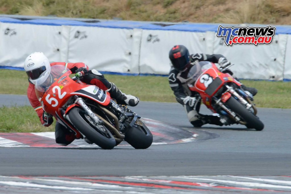Paul Byrne on the Harris XR69 Suzuki leads Chas Hern for the P5 Unlimited trophy