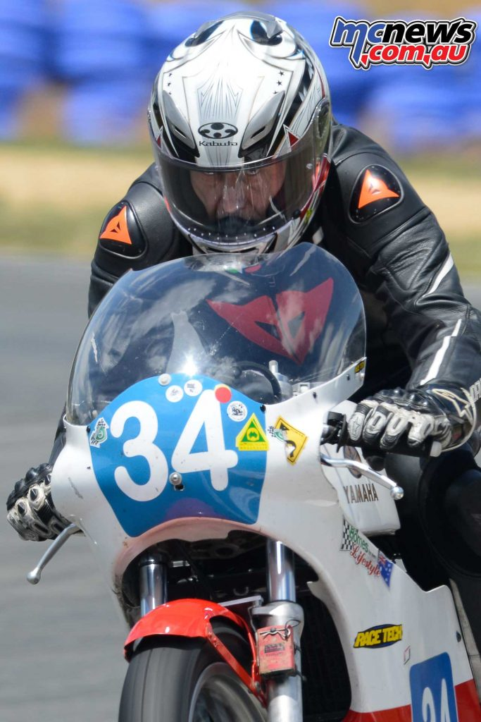 Chris Hayward and his TZ350 in race mode