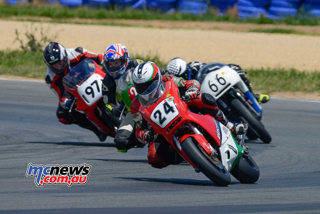 Mick Johnston on his 1987 TTF1 Ducati leading Corey Forde Aaiden Coote and Stephen Ward