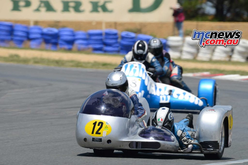 Doug Chivas and Scooby Breen on the lovely Chivos Konig lead John Clancy and Warren Grubb on the DeWith Honda tussled over the P4 Championship prize
