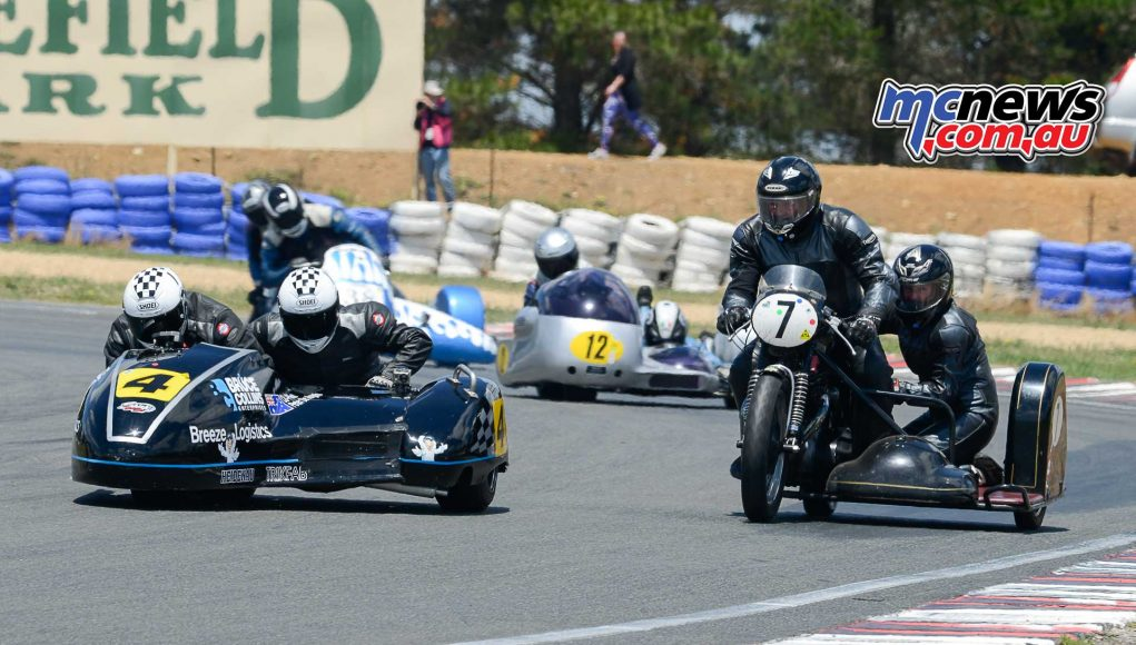 William Hargrave and Annette Tregger mixing it with the fat wheelers on their 1956 Triumph Thunderbird