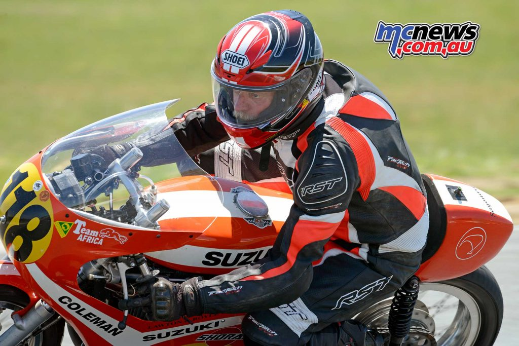 Pete O'Neill making a return after a long lay-off on his Suzuki Sayonara