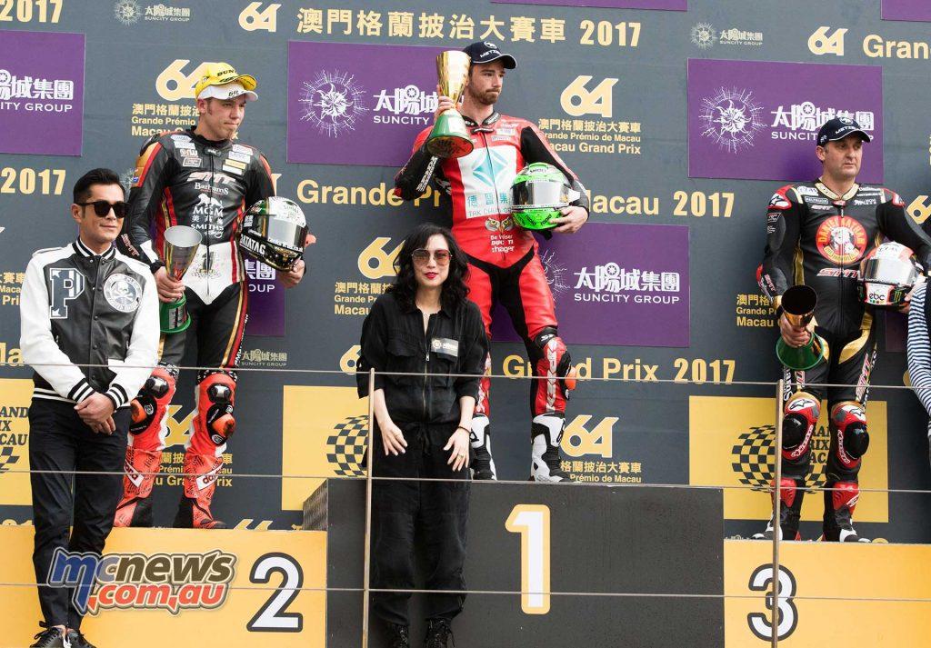 2017 Macau Grand Prix Results Glenn Irwin - Ducati Peter Hickman - BMW +1.312 Michael Rutter - BMW +8.676