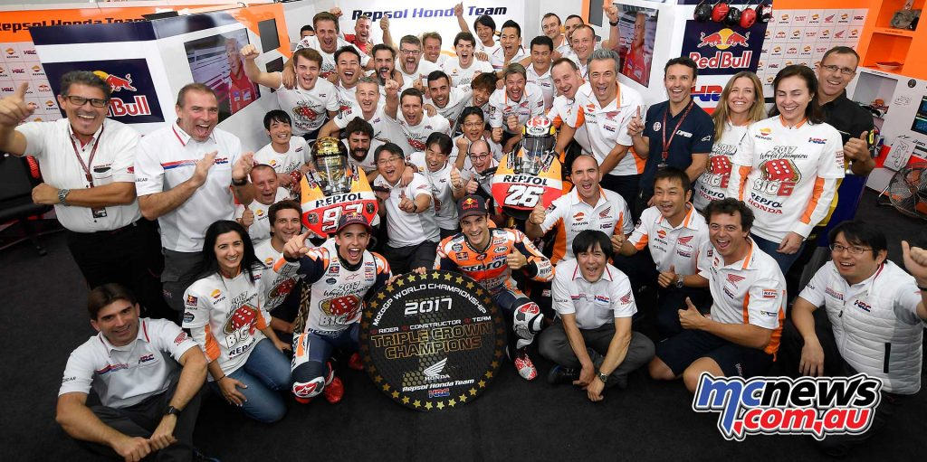 "Honda secured the ""Triple Crown,"" comprising the Constructor, Rider, and Team Championships."