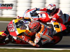The titanic tussle between Marquez and Dovizioso ended prematurely when Dovizioso ran off into the Valencia gravel - Image by AJRN