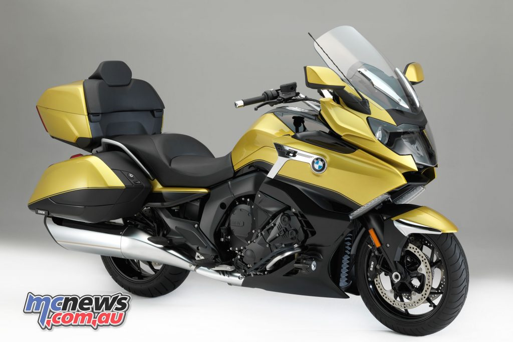 BMW's 2018 K 1600 Grand America in Blackstorm metallic/Austin Yellow metallic