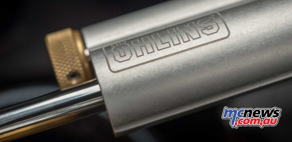 An Öhlins steering damper is also standard fitment