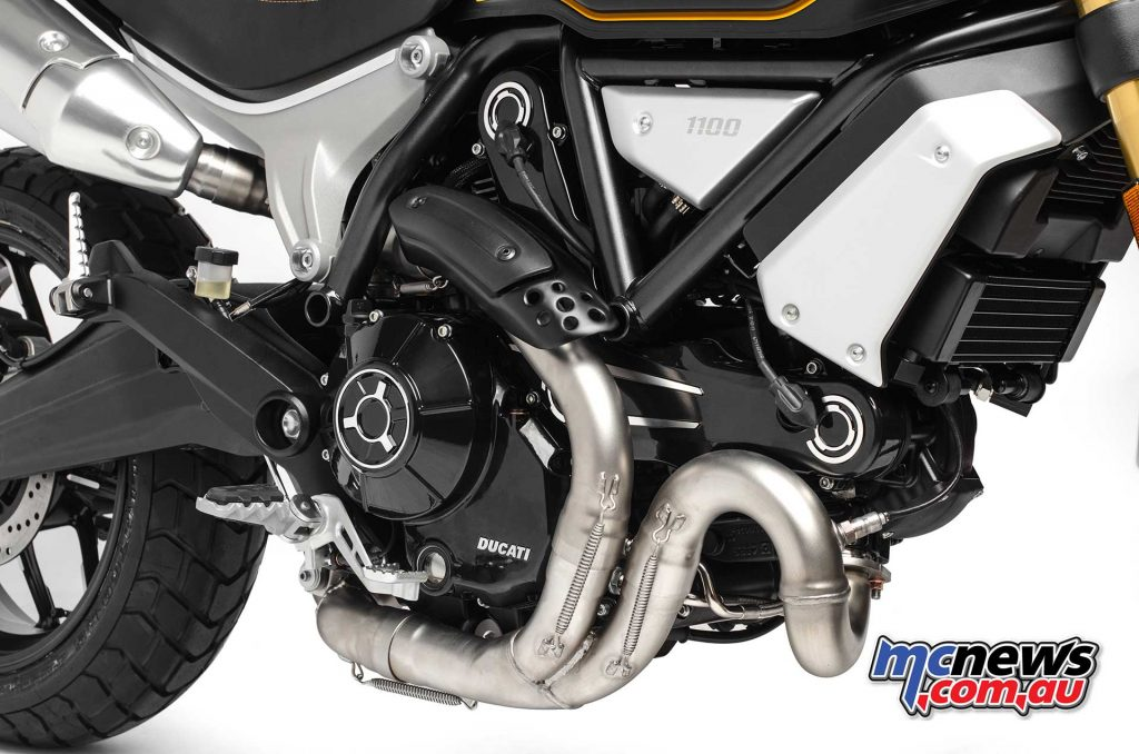 The Scrambler 1100 also includes larger diameter exhaust pipes