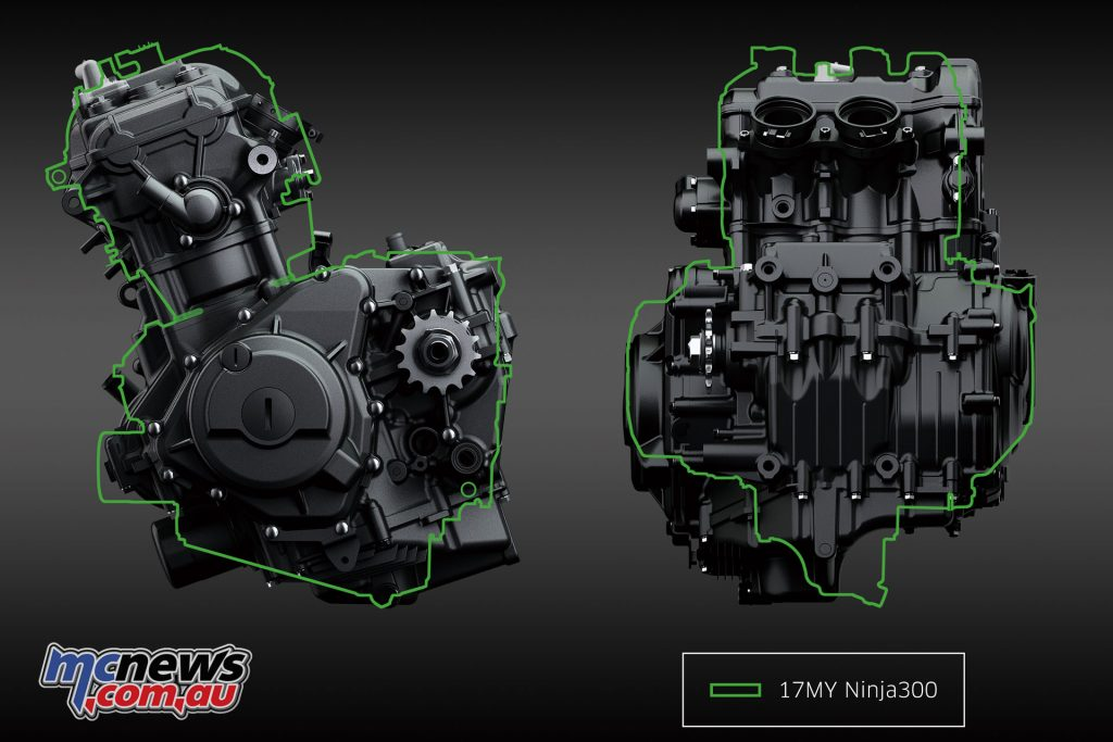 Engine comparison between the Ninja 400 and the Ninja 300 (green outline)