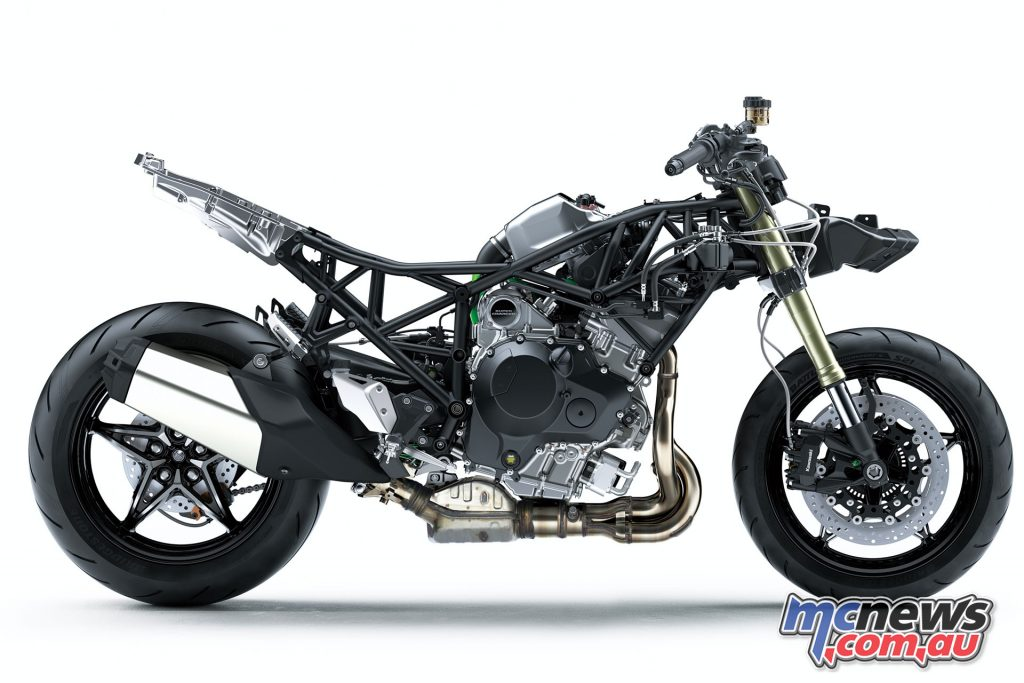 The Ninja H2 SX features a redesigned trellis frame