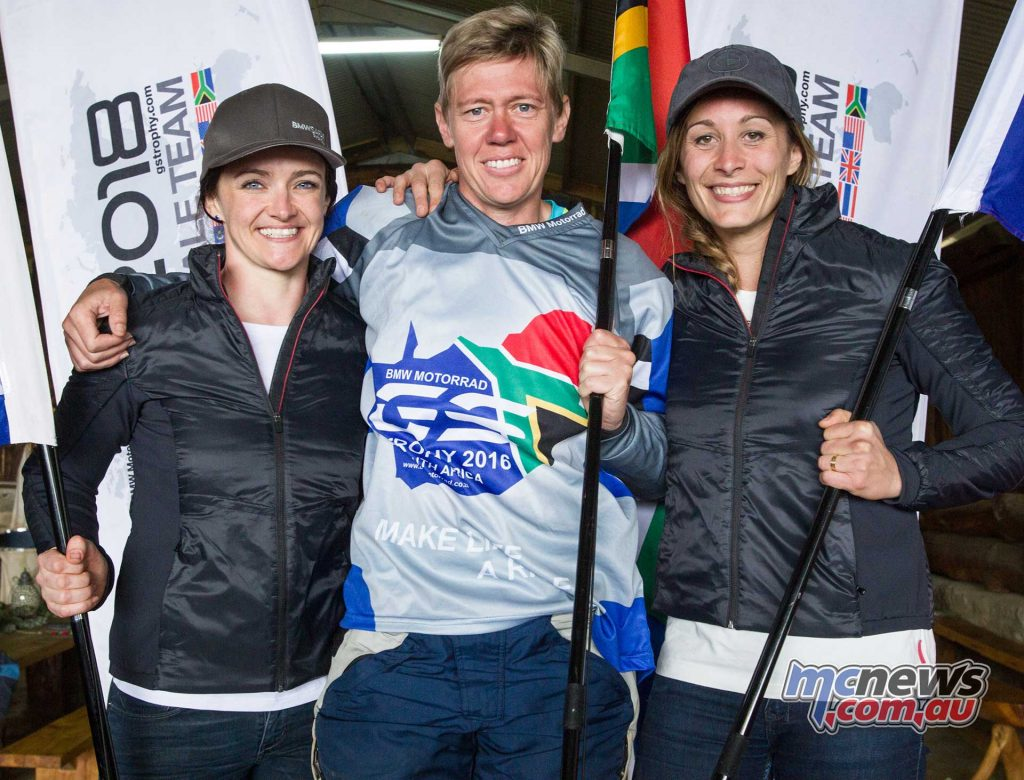 BMW Motorrad International GS Trophy Female Team Qualifying 2017. f.l.t.r.:Julia Maguire (Australia), Ezelda van Jaarsveld (South Africa), Sonia Barbot (France).