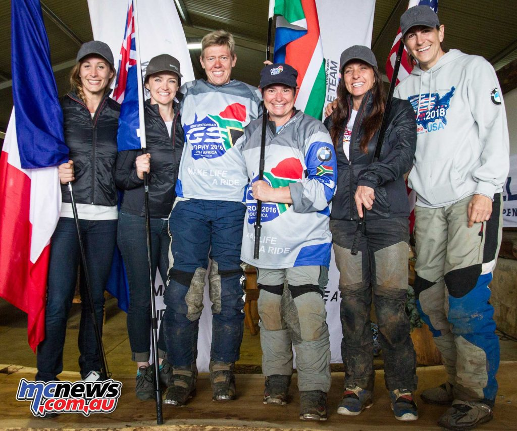 BMW Motorrad International GS Trophy Female Team Qualifying 2017. f.l.t.r.:Sonia Barbot (France), Julia Maguire (Australia), Ezelda van Jaarsveld (South Africa), Linda Steyn (South Africa), Jocelin Snow (USA), Bettina Nedel (USA).