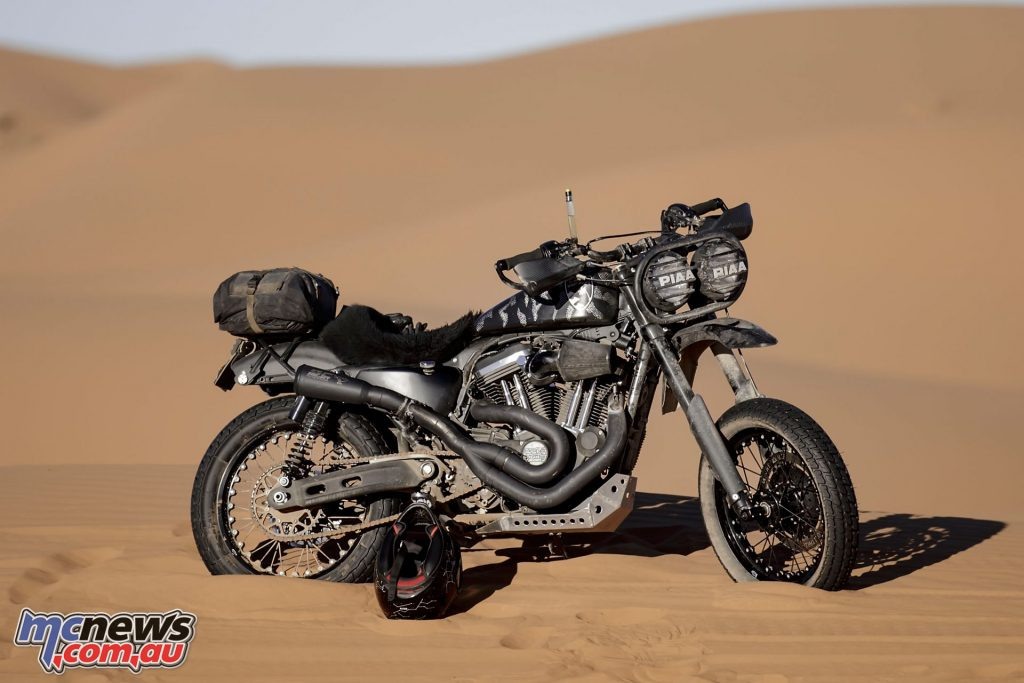 Barkbusters were specifically chosen for the El Solitario project Harleys, which would cross the Sahara