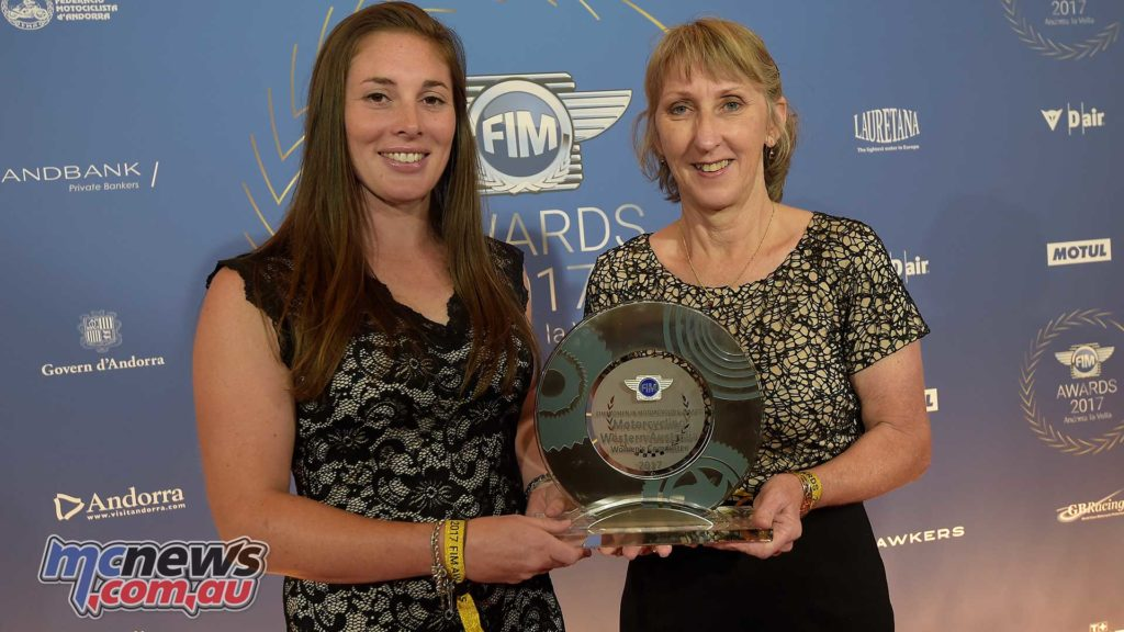 FIM Women in Motorcycling Award given to Motorcycling WA representatives Chelsea Blakers and Tracy Simpson