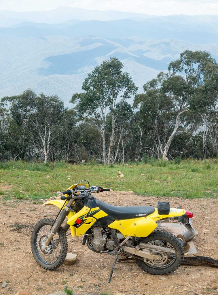 A world of adventure awaits the DR-Z400E rider. Here it can be seen on top of Victoria's Mount Terrible, a 1325 metre high peak just south of Jamieson.