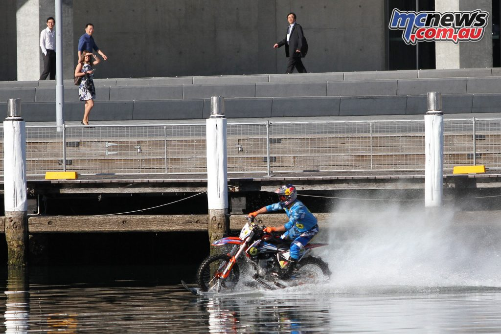 Robbie Maddison wowed startled onlookers on the Friday practice at Darling Harbour