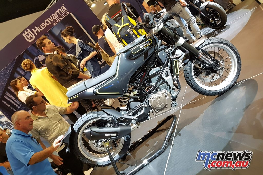 The 2018 Husvarna Svartpilen 401 uncovered at the Sydney Motorcycle Show
