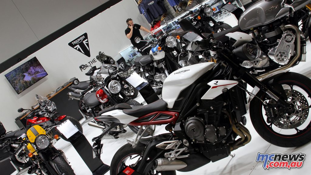 The first display inside the doors of the Sydney Motorcycle Show was the Triumph Motorcycles stand, where Troy Bayliss officially introduced the show