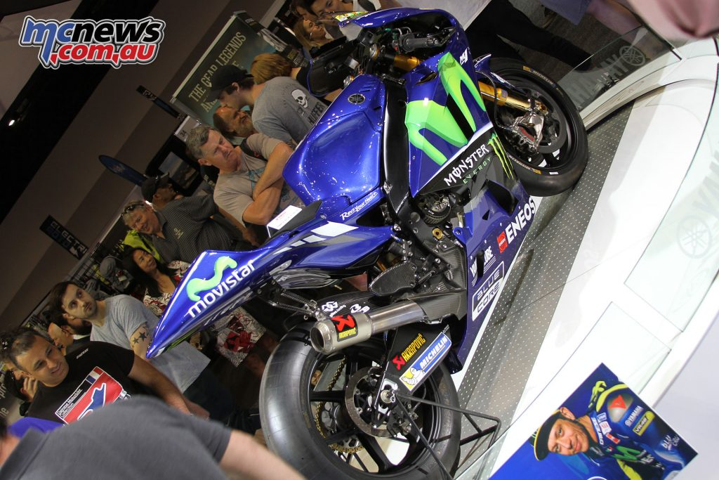 Rossi's MotoGP machine was on display, alongside an array of race machinery
