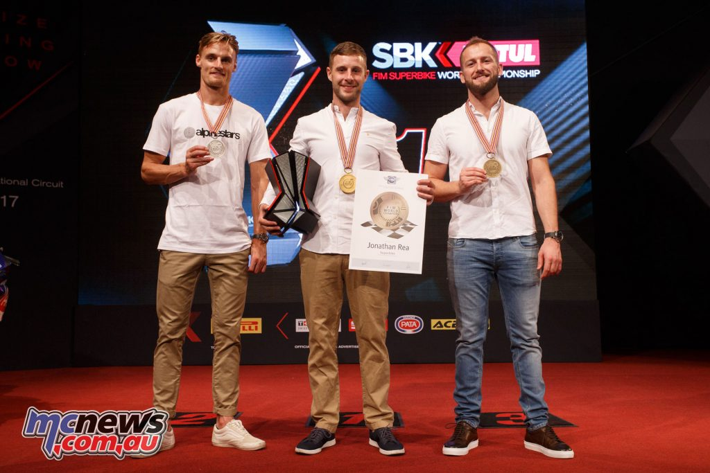 2017 WorldSBK Champion Rea (centre) with runner up Davies, and third-places Sykes