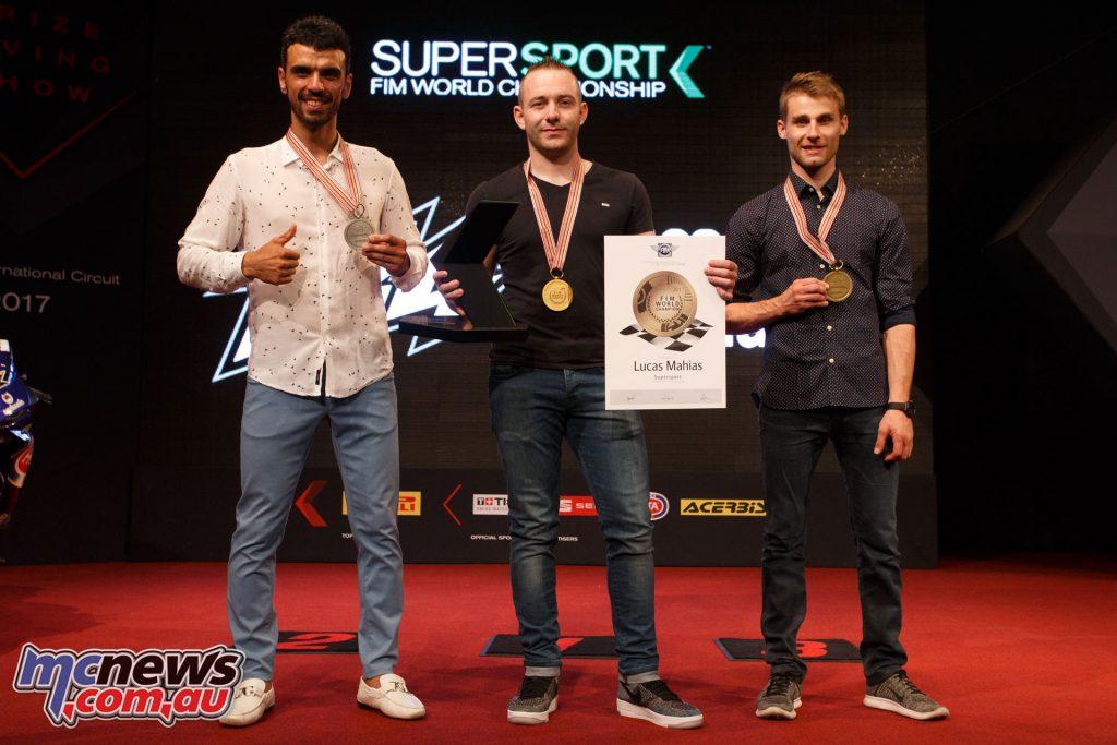 2017 WorldSSP final standings - Sofuoglu (second), Mahias (Champion), Cluzel (third)