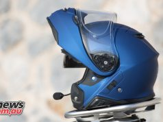 The Shoei Neotec II with Sena comm unit fitted