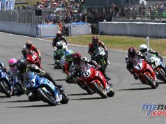 Suzuki Series leader Scott Moir leads the opening F1 Superbike start at Manfeild on Sunday