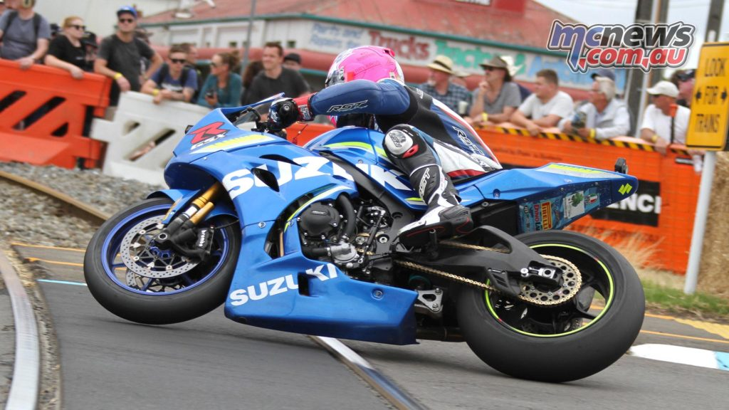 Lee Johnston gets his front wheel airborne over the railway lines at Whanganui on Boxing Day.