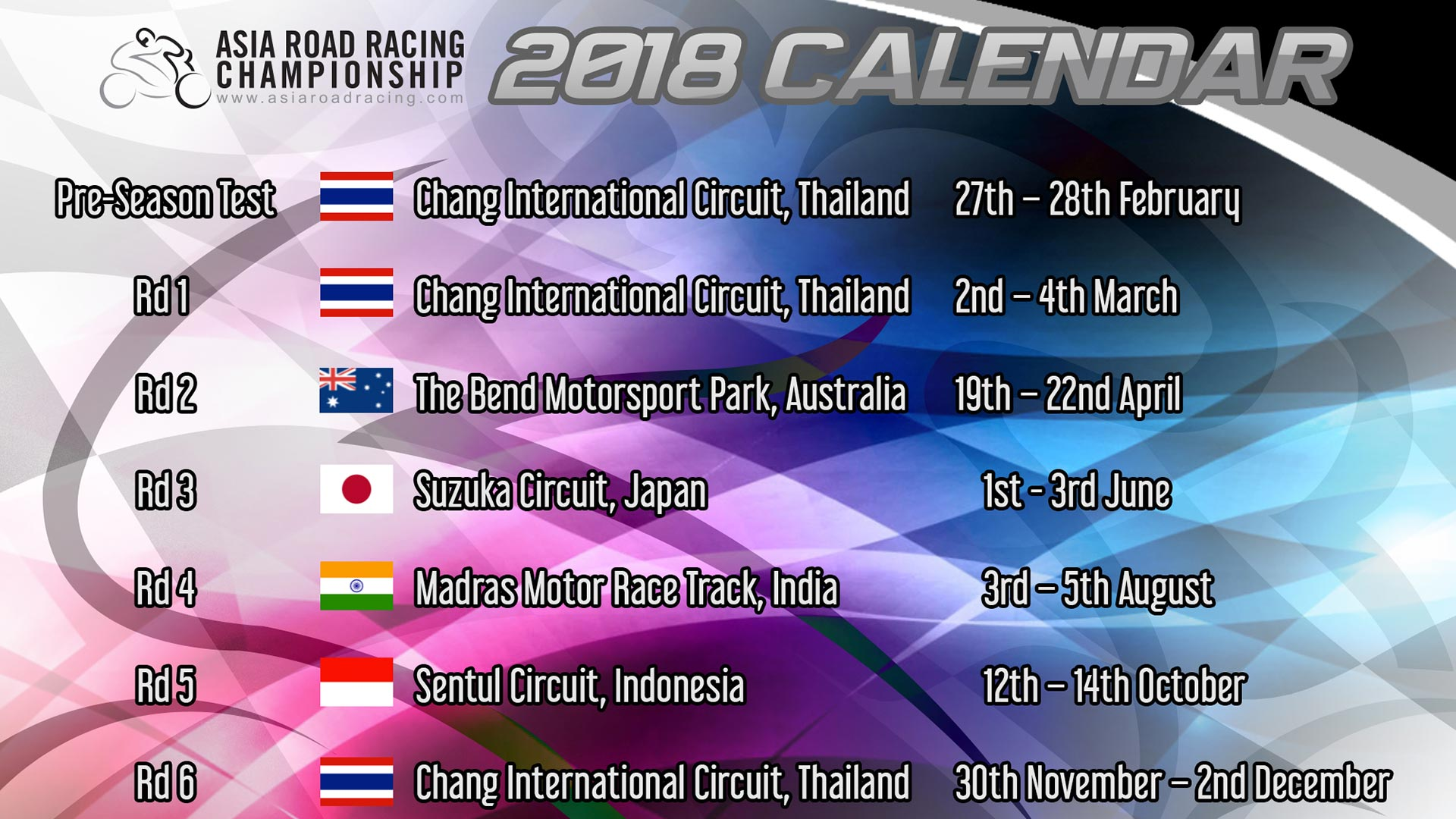 Asia Road Racing Championship 2018 Calendar