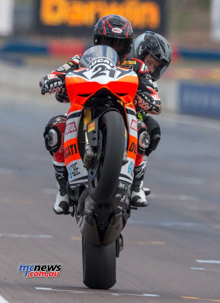 Troy Bayliss giving someone a lift at Hidden Valley - Image by TBG