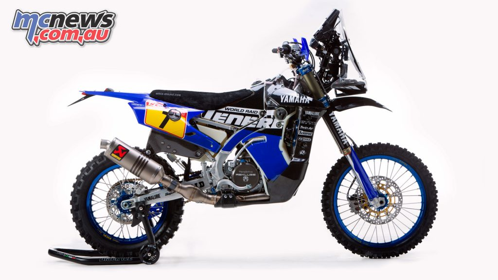 Yamalube Yamaha Official Rally Team WR450F sporting the Ténéré 700 World Raid name and graphics