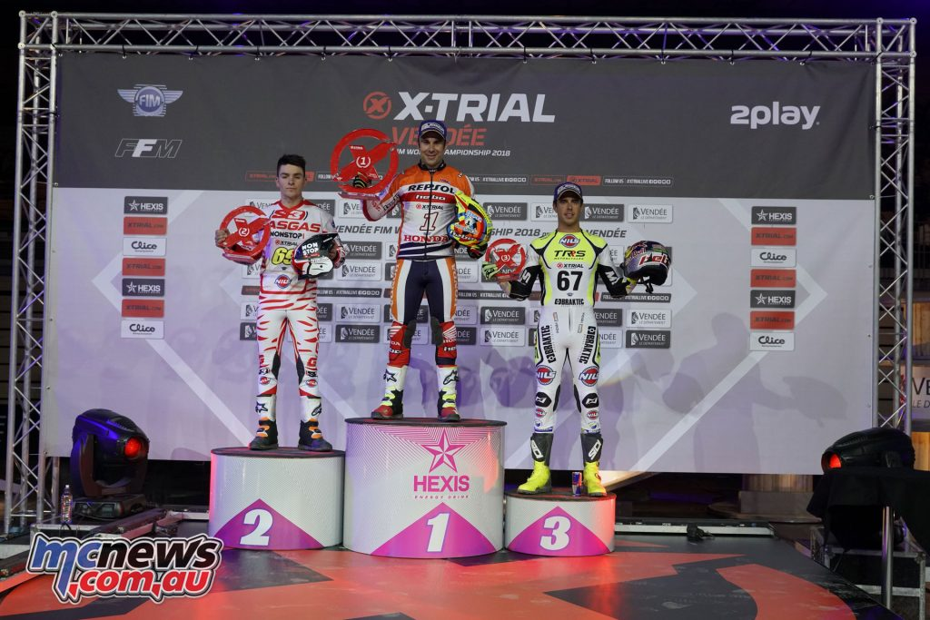 Toni Bou took top spot on the podium at Round 1 of the 2018 FIM X Trials, ahead of Jaime Busto and Raga Adam