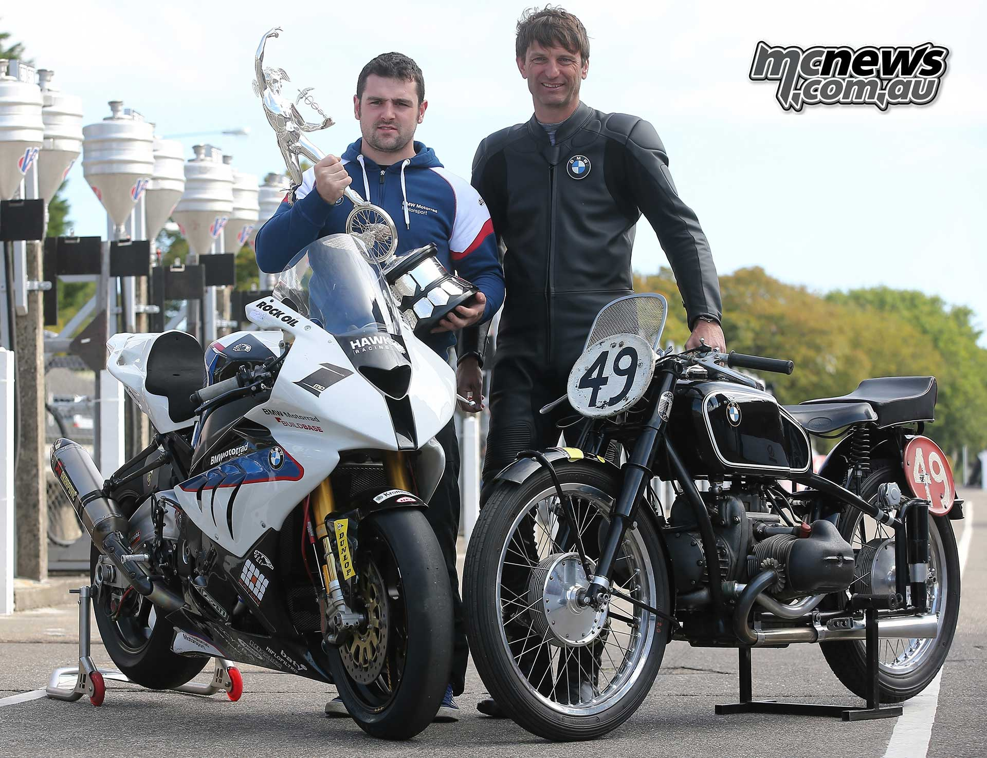 BMW Group Classic at Classic TT 2014, Wolfgang Meier with Kompressor BMW 255 (1939), Michael Dunlop with BMW S 1000 RR (2014)