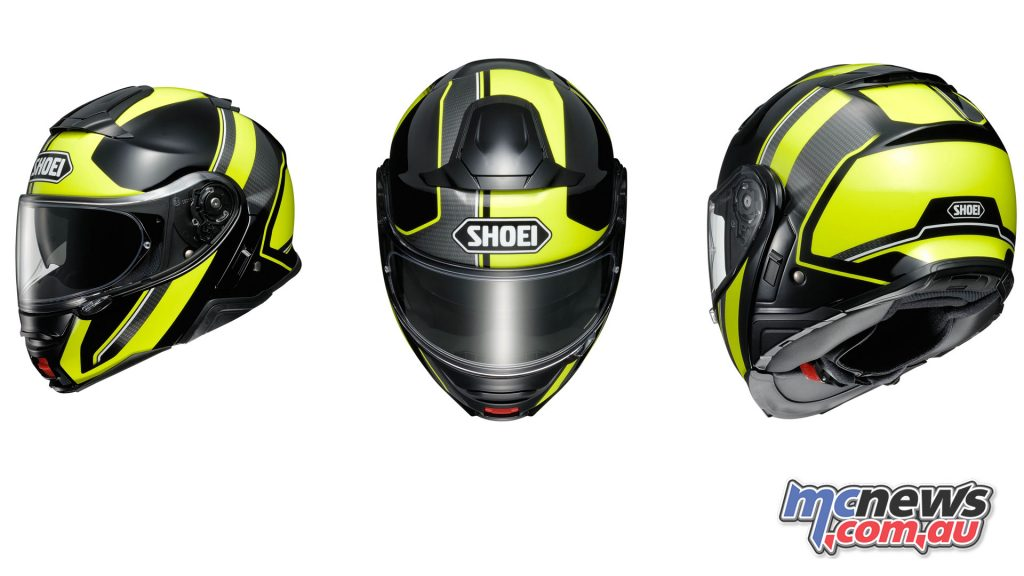 The Shoei Neotec II in Excursion TC-3 graphic