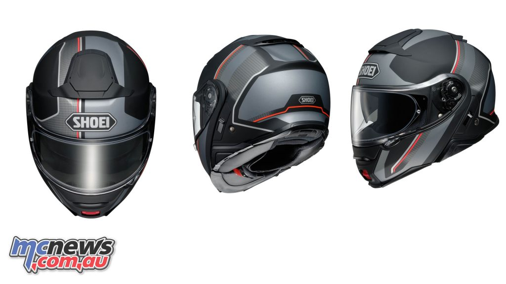The Shoei Neotec II in Excursion TC-5 graphic